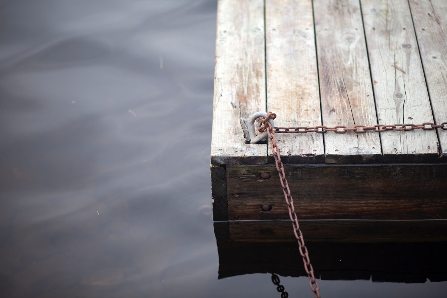 Boat tied to a dock on a lake in Southern Maine.
